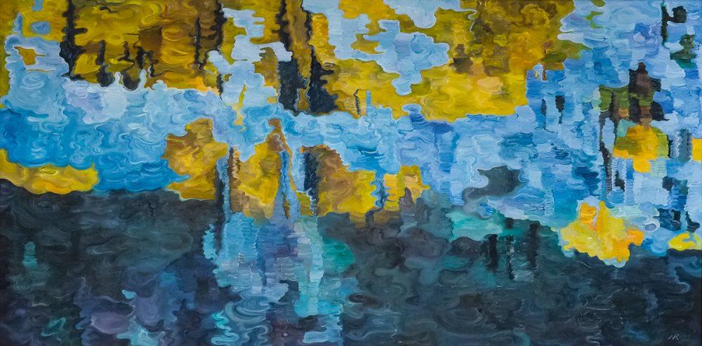 schilderij van Noëlle Koppers, Water XIV, 60 x 120 cm, olieverf/doek